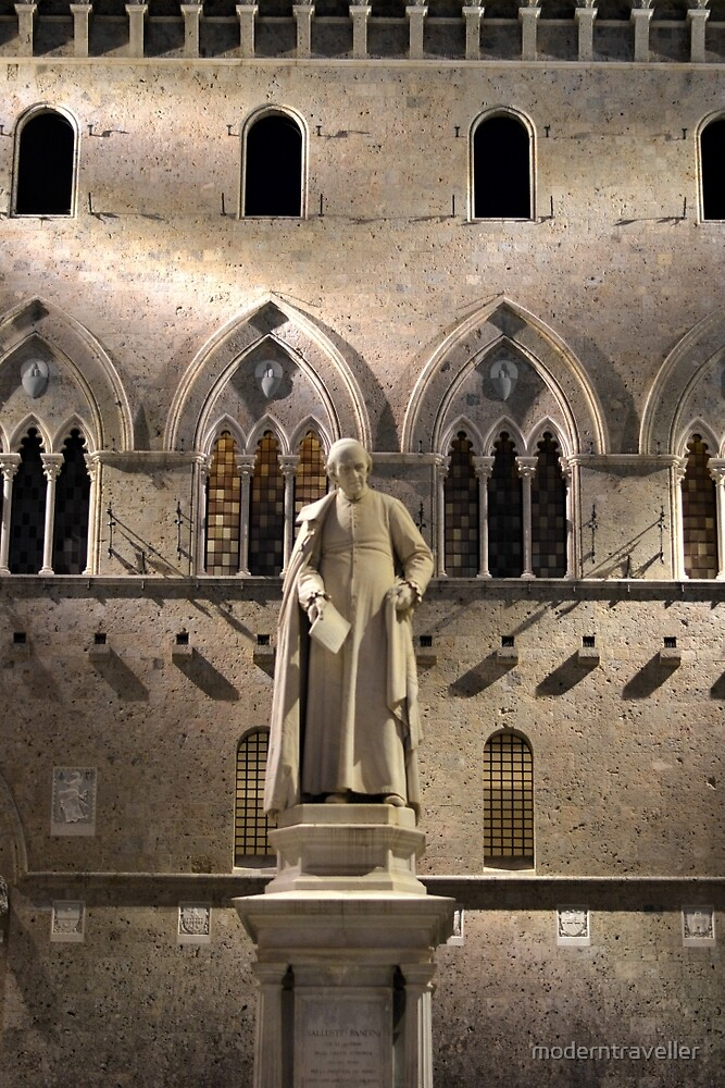 Illuminated statue and church wall, Siena by moderntraveller