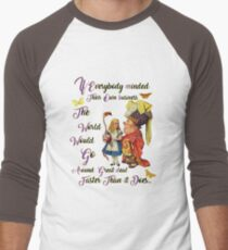 Alice with The Duchess Vintage Dictionary Art Men's Baseball ¾ T-Shirt