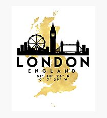 LONDON ENGLAND SILHOUETTE SKYLINE MAP ART Photographic Print