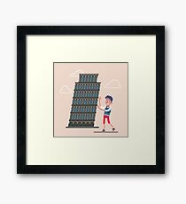 Pisa Tower with Tourist. Travel Italy Framed Print