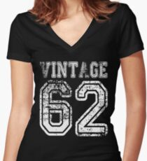 Vintage 62 2062 1962 T-shirt Birthday Gift Age Year Old Boy Girl Cute Funny Man Woman Jersey Style Women's Fitted V-Neck T-Shirt