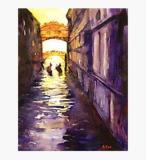 Bridge of Sighs watercolor painting- Venice, Italy Photographic Print