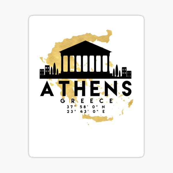 ATHENS GREECE SILHOUETTE SKYLINE MAP ART  Sticker