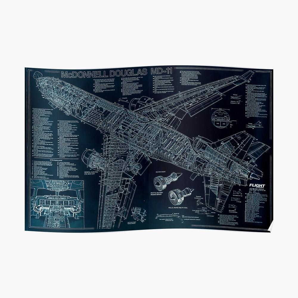 McDonnell Douglas MD-11 Skizze Poster