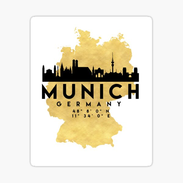 MUNICH GERMANY SILHOUETTE SKYLINE MAP ART Sticker