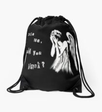 Tearful angel Drawstring Bag