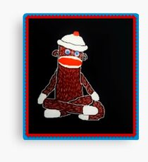 Sock Monkey Meditation with Border Canvas Print