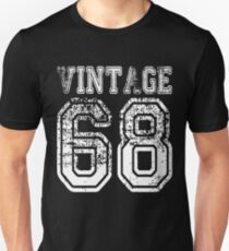 Vintage 68 2068 1968 T-shirt Birthday Gift Age Year Old Boy Girl Cute Funny Man Woman Jersey Style Unisex T-Shirt