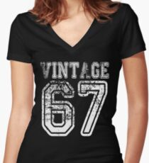 Vintage 67 2067 1967 T-shirt Birthday Gift Age Year Old Boy Girl Cute Funny Man Woman Jersey Style Women's Fitted V-Neck T-Shirt