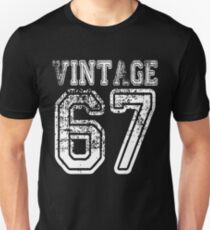 Vintage 67 2067 1967 T-shirt Birthday Gift Age Year Old Boy Girl Cute Funny Man Woman Jersey Style Unisex T-Shirt