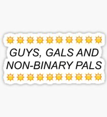 """guys gals and non binary pals"" YOUTUBE TUMBLR FEMINIST SOCIAL JUSTICE EQUALITY PATTERN Sticker"