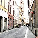 Street and bell tower by Giuseppe Cocco
