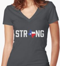 Texas State Strong Red White & Blue Women's Fitted V-Neck T-Shirt