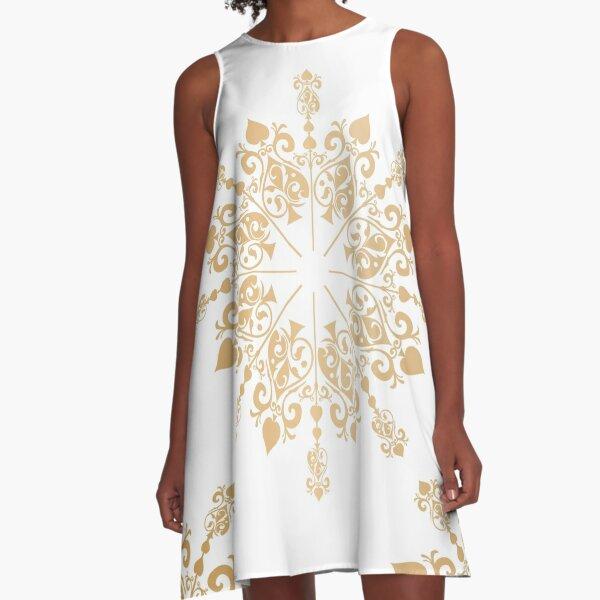 Gold Lace Fretwork Textile A-Line Dress