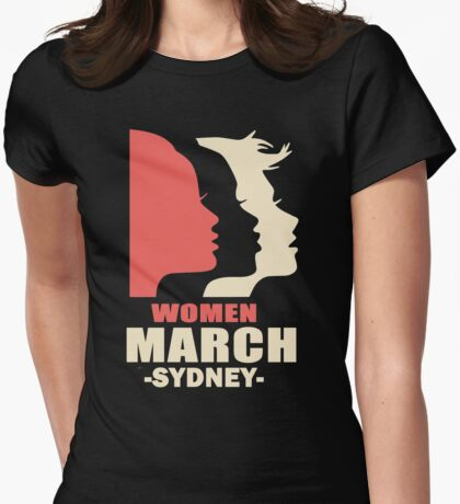 Women's march on Sydney Womens Fitted T-Shirt