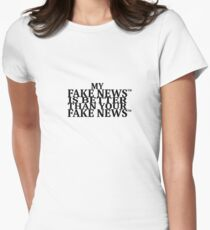 FAKE FAKE FAKE on white Women's Fitted T-Shirt