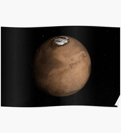 Planet Mars leicht geneigt, um den Mars-Nordpol zu zeigen. Poster