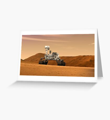 Künstlerkonzept des Mars Science Laboratory Curiosity Rover der NASA. Grußkarte