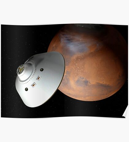 Künstlerisches Konzept eines in der Lufthülle eingeschlossenen Raumfahrzeugs nähert sich dem Mars. Poster
