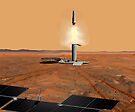 Das Konzept des Künstlers eines Aufstiegsfahrzeugs, das Mars verlässt. von StocktrekImages