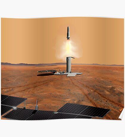 Das Konzept des Künstlers eines Aufstiegsfahrzeugs, das Mars verlässt. Poster
