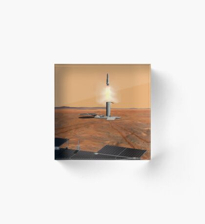 Das Konzept des Künstlers eines Aufstiegsfahrzeugs, das Mars verlässt. Acrylblock
