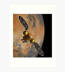 Das Konzept des Künstlers eines Raumfahrzeugs, das Mars umkreist. Kunstdruck