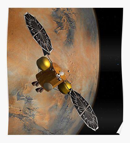 Das Konzept des Künstlers eines Raumfahrzeugs, das Mars umkreist. Poster