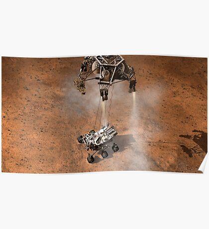 Das Konzept des Künstlers von NASAs Curiosity-Rover, der auf die Marsoberfläche aufsetzt. Poster