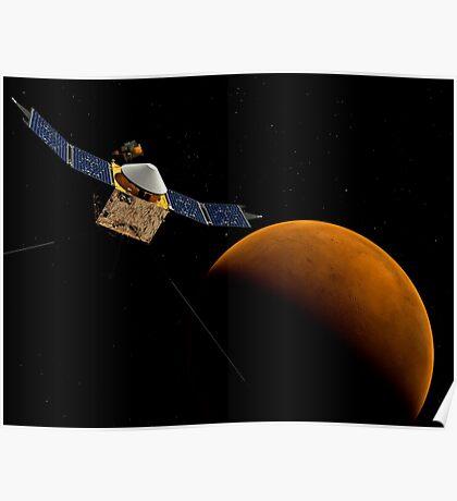 Künstlerisches Konzept der MAVEN-Raumsonde der NASA. Poster