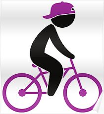 A cyclist rides on his bicycle Poster