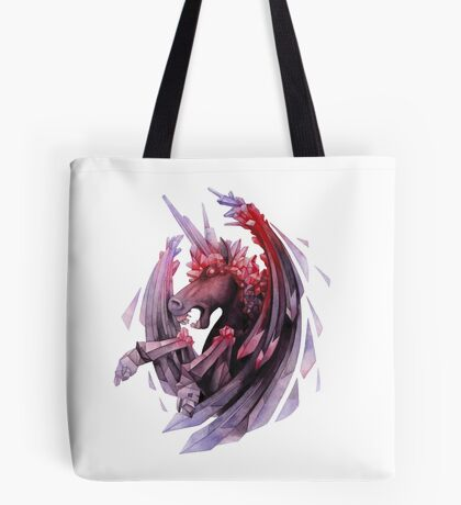 Watercolor crystallizing demonic horse Tote Bag