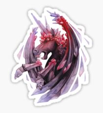 Watercolor crystallizing demonic horse Sticker