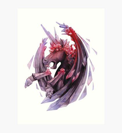 Watercolor crystallizing demonic horse Art Print