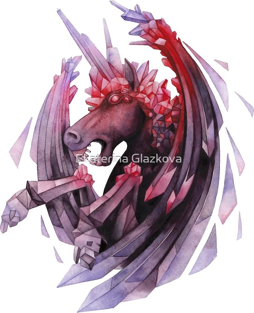 Watercolor crystallizing demonic horse by Ekaterina Glazkova