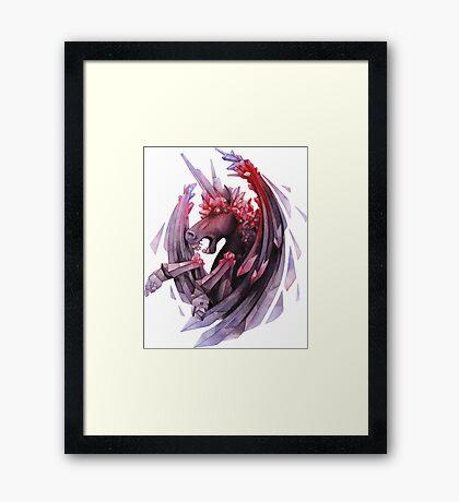 Watercolor crystallizing demonic horse Framed Print