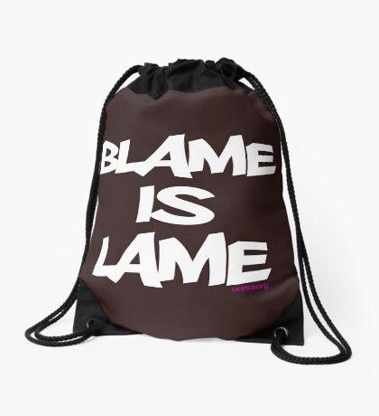 BLAME IS LAME! (white) Drawstring Bag