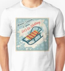 Winter Season. Lets Go Sledding Retro Poster T-Shirt