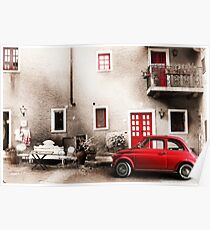Old vintage italian scene. Small antique red car. Poster
