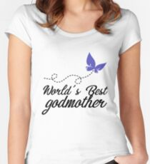World's Best Godmother - Butterfly - The Godmother Godmom Godparent - Family - Guardian Women's Fitted Scoop T-Shirt
