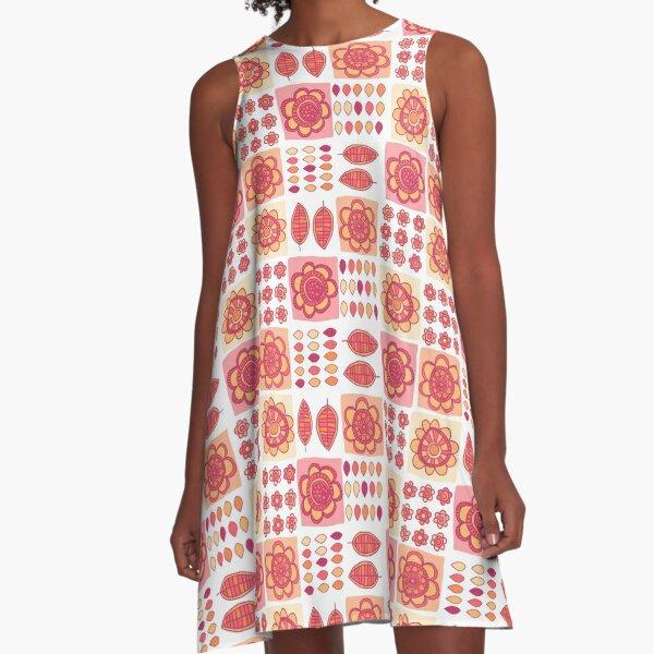 Fun Graphic Floral A-Line Dress