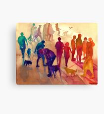Dogs on the walk Canvas Print