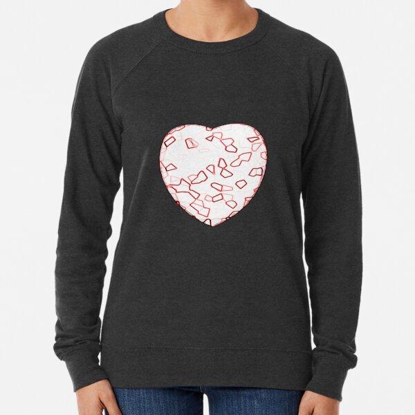 Stylised Red & White Heart Lightweight Sweatshirt