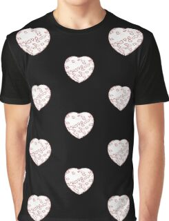 Stylised Red & White Heart Graphic T-Shirt
