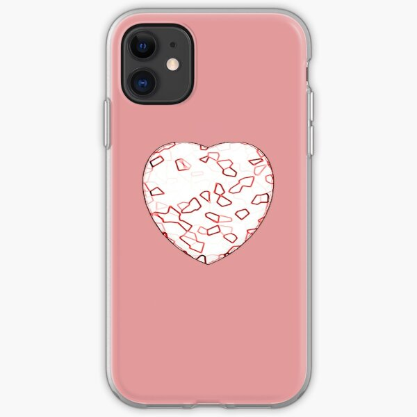 Stylised Red & White Heart iPhone Soft Case