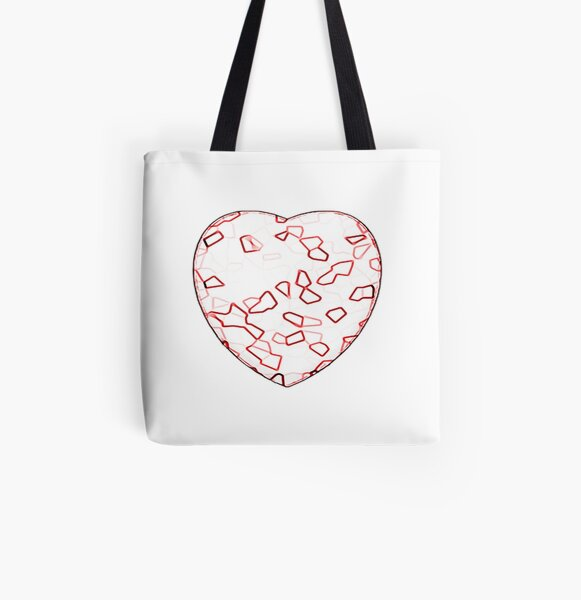Stylised Red & White Heart All Over Print Tote Bag