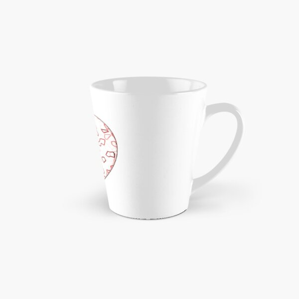 Stylised Red & White Heart Tall Mug