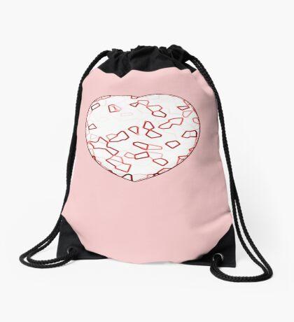 Stylised Red & White Heart Drawstring Bag