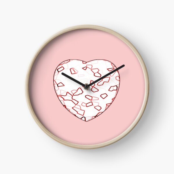 Stylised Red & White Heart Clock