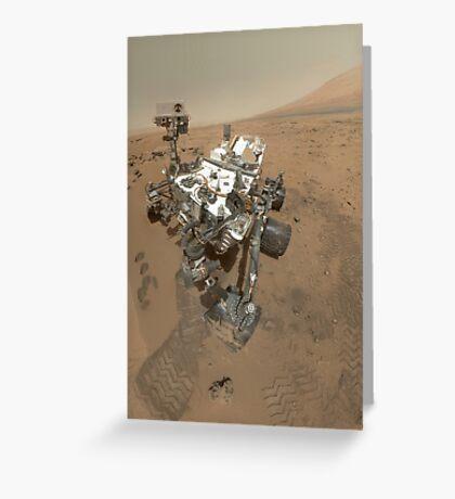 Selbstporträt von Curiosity Rover im Gale Krater auf der Oberfläche des Mars. Grußkarte